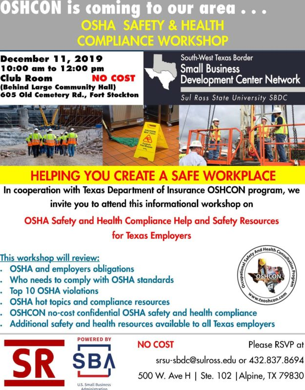 OSHCON Workshop 12-11-19 Fort Stockton